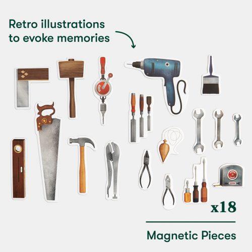 Quadro magnético com 18 peças relacionadas com bricolage